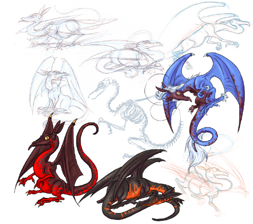 Dragon designs used for various personal projects including this websites